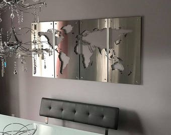 Steel world map etsy world map large 3x6 metal sign stainless steel large wall hanging silhouette high end unique modern globe art metal gumiabroncs Gallery
