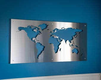 Steel world map etsy world map large 2x4 metal signs stainless steel large wall hanging silhouette high end unique modern globe art metal gumiabroncs Gallery