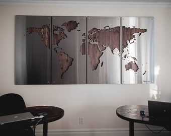 Steel world map etsy world map large 4x8 wood background metal signs stainless steel wall hanging silhouette unique modern globe art metal gumiabroncs Gallery