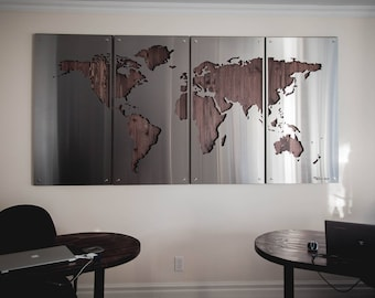Metal world map etsy world map large 4x8 wood background metal signs stainless steel gumiabroncs Gallery