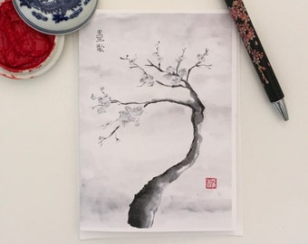 Blank Cards, Pack of 5 with Envelopes, Plum Blossom, Any Occasion, Sumi-e, Chinese Watercolor, Print