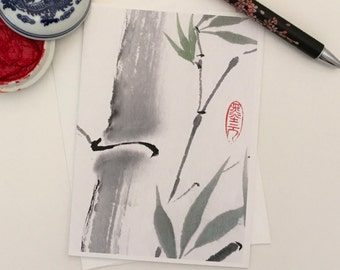 Blank Cards, Pack of 5 with Envelopes, Bamboo, Any Occasion, Sumi-e, Chinese Watercolor, Print