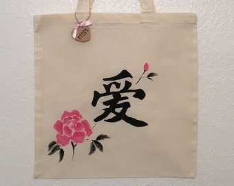 Canvas Tote, Hand Painted, Love, Roses, Chinese Characters, Kanji, Mother's Day Gift