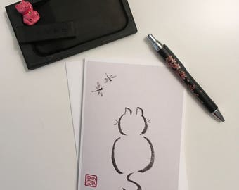 Blank Cards, Pack of 5 with Envelopes, Any Occasion, Sumi-e, Chinese Watercolor, Print, Kitten