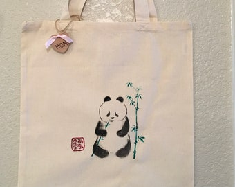 Canvas Tote, Hand Painted, Panda, Chinese Characters, Kanji, Mother's Day Gift