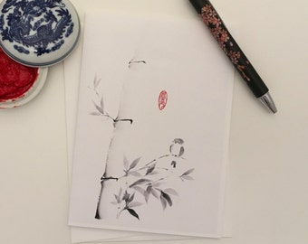 Blank Cards, Pack of 5 with Envelopes, Bird and Bamboo, Any Occasion, Sumi-e, Chinese Watercolor, Print