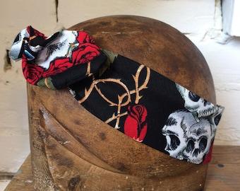 1950's Luxury Rose And Skull Print Vintage Style Wire Headband Handmade Gift Idea