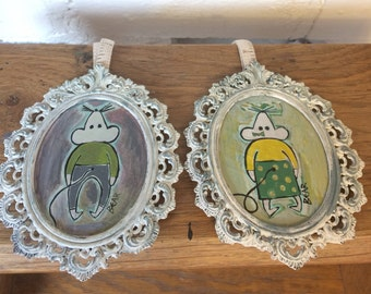 Mr And Mrs Mouse Two Little Mice Paintings In Upcycled Antique Style Frames