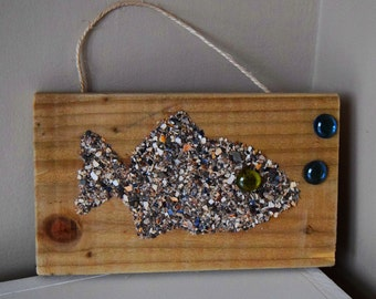 Hand-Crafted Wooden Shell Collage - Fish