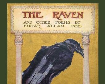 The Raven - Edgar Allan Poe - Antique Book - Antique Book Print - Raven Picture - Crow Picture - Raven Art - Crow Art - Nevermore Art