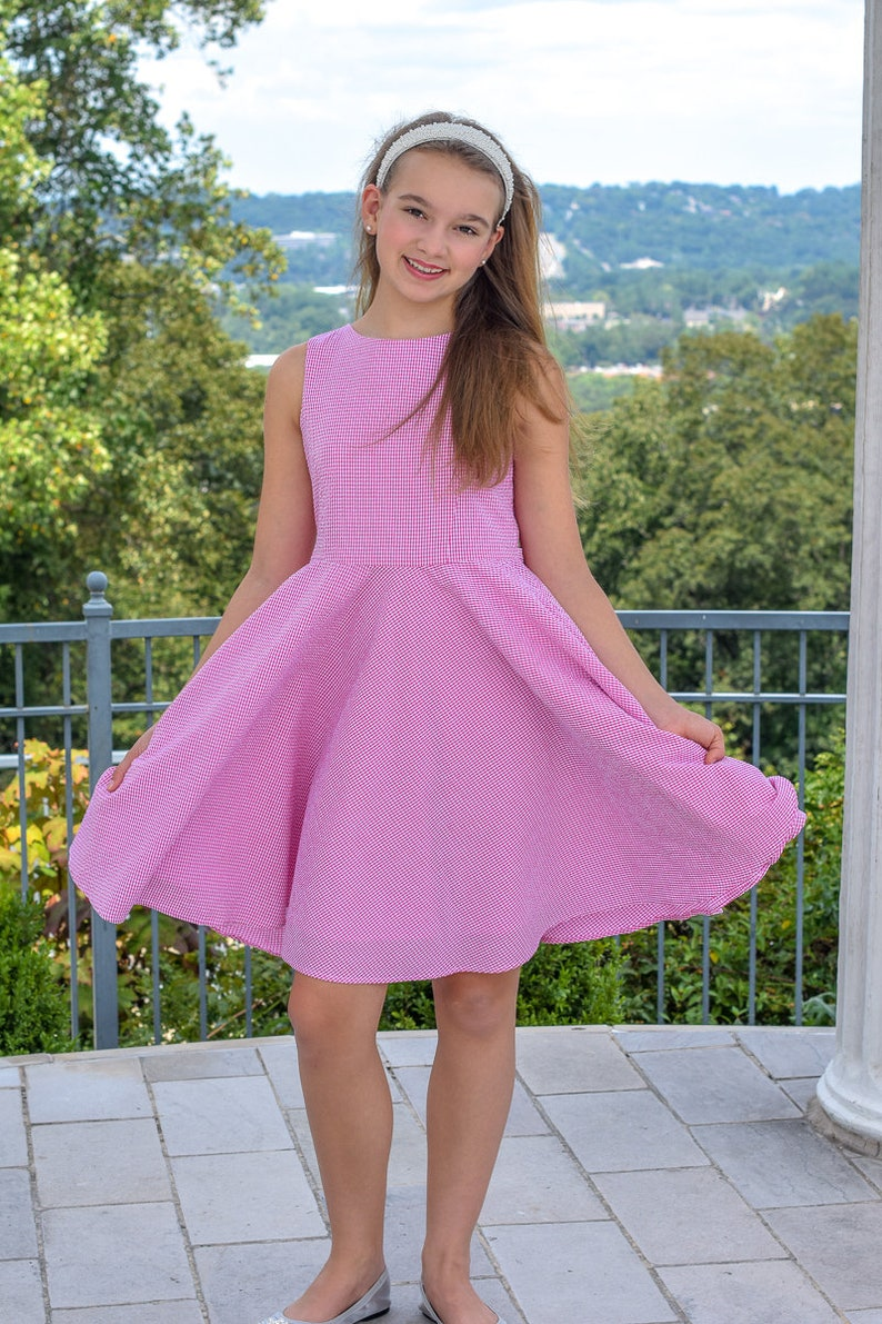 5b1656fc53 Summer Dress for Girls Seersucker yellow classic flattering