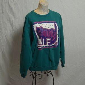 f219afbddd Vintage Green Non Fiction Aztec Cat Sweatshirt - Size 3