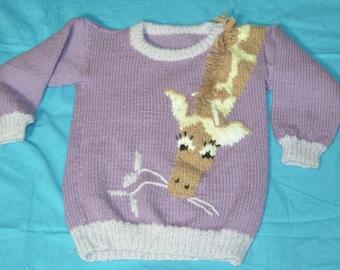 Vintage Childrens Girls Hand Knit Purple Giraffe Pullover Sweater