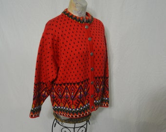 1eae872ab75 Vintage Dale of Norway Red Colorful Pure New Wool Fair Isle Cardigan Ski  Sweater Size Large  Norwegian Sweater   Winter Sweater