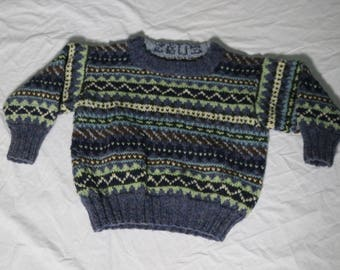 Childrens Hand Knit FAIR ISLE  Pullover Sweater