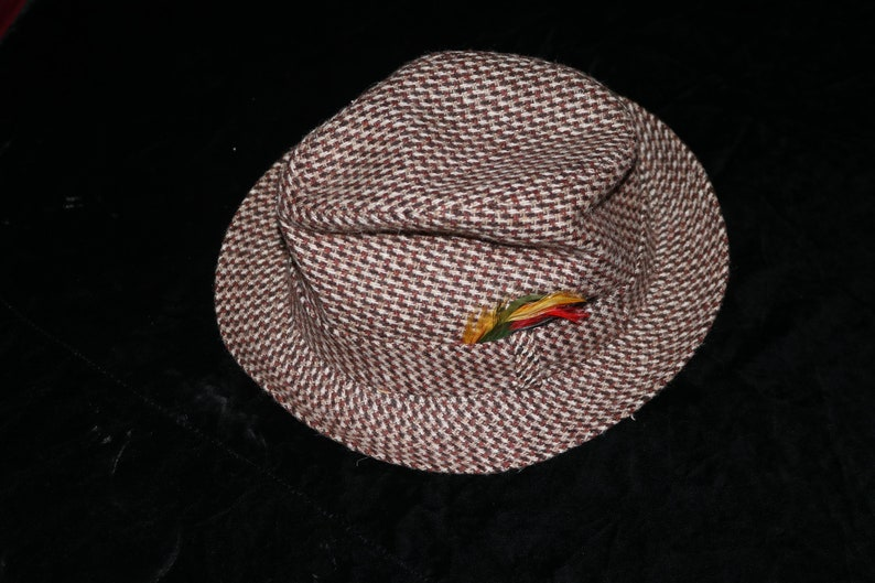 bb46be6c617 Vintage Brown Tweed Stingy Brim Fedora Hat Sears Size 7
