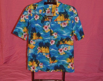 Mens Pacific Legend Tropical Floral Palm Trees Button Front Hawaiian Shirt - Size Large