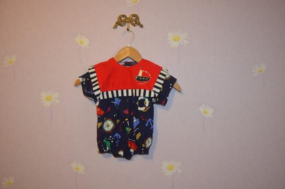 7782780b9 Retro Vintage Infants Boys Nautical Sun Suit Romper Size 12