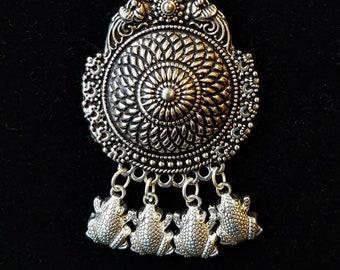 boho pendant, mandala pendant, frog jewelry, tribal pendant, ethnic pendant, India pendant, boho jewelry, peacock jewelry, frog gifts