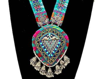 Colorful tribal fabric Afghani Kuchi pendant necklace,jhumka necklace, Afghani jewelry, boho bib necklace,festival statement ethnic necklace
