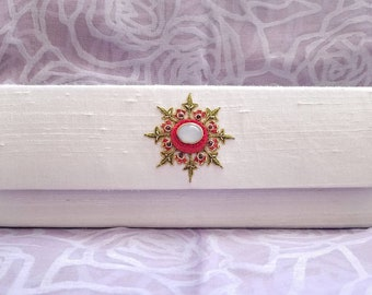 White silk bridal clutch with moonstone,white clutch with floral embroidery, wedding clutch,bridal clutch, bridesmaid clutch, zardozi clutch