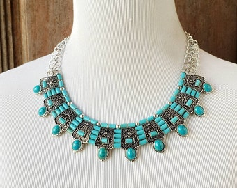 Tibetan turquoise and coral fashion necklace, Tibetan jewelry, Nepal jewelry, turquoise bib necklace, coral bib necklace, art deco jewelry