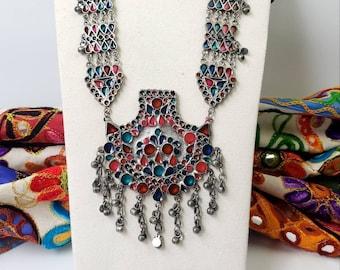 Colorful Afghani tribal pendant necklace set,German silver ghungroo jewelry,Chandbali enamel jewelry,Afghani jewelry,ethnic, boho necklace