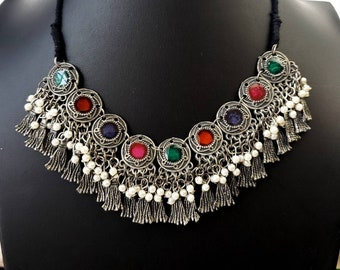 German silver enamel Afghani necklace with pearls, oxidized silver tassel necklace, Afghani tribal jewelry, Indian jewelry, meenakari choker