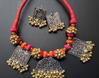 a9fd87abc0b Oxidized silver Afghan thread necklace and earrings