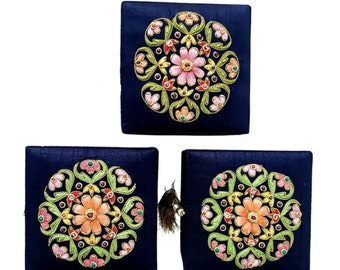 Navy silk Jewelry box, embroidered floral ring box, wedding ring box, engagement ring box, ring bearer box, bridesmaid gift, gifts for her