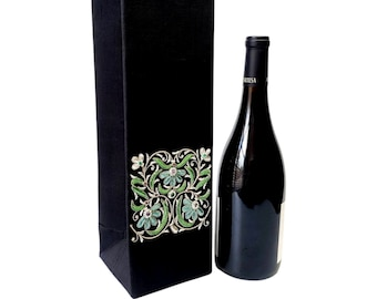 Embroidered wine gift bag,wedding wine gift box,wine presentation box,gift for bride groom, wedding party favor, corporate gift,wine tasting