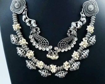 Oxidized silver Peacock necklace. pearl jhumka necklace, Indian necklace, Indian jewelry, tribal jewelry, ethnic jewelry, peacock lover gift