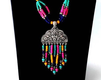 India jewelry, India necklace pendant set, German silver, colorful bead necklace, jhumka necklace set, Afghani jewelry, Afghani necklace set
