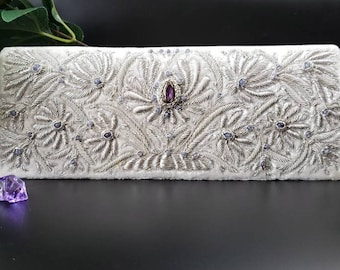 Bridal clutch, hand embroidered ivory velvet wedding clutch with silver lotus flower and amethyst, jewel purse,gift for bride,something blue