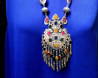 Turkmen necklace and earrings set with dangles, Turkmen jewelry, ethnic jewelry, Afghani tribal  jewelry, Afghani necklace set, bohemian