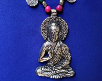 Large Buddha Tibetan pendant, Meditation necklace,Zen jewelry, Oxidized silver, spiritual jewelry,boho beaded pendant, Buddha gift for her