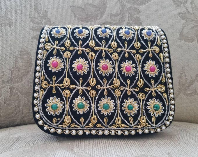 Featured listing image: Black velvet embroidered girl's handbag, Zardozi purse, mini clutch, Zardozi evening bag, flower girl purse, wedding purse, gifts for her
