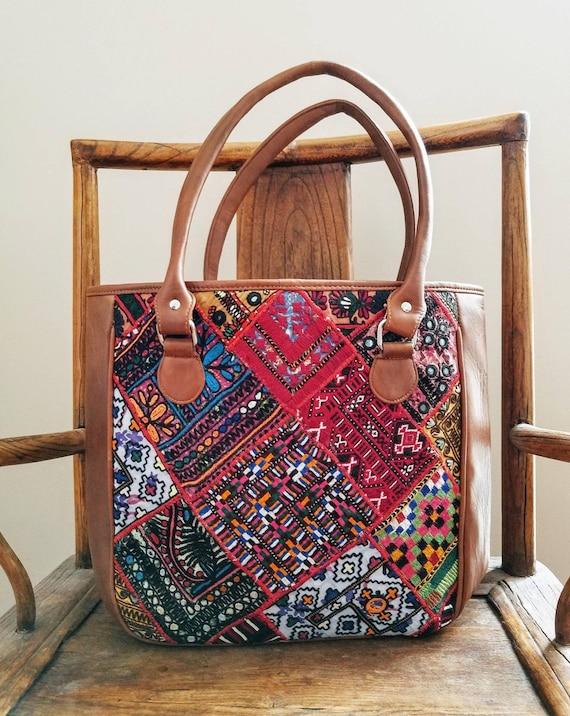 37fd24d0e2 Embroidered brown leather Banjara bag boho bag Banjara tote