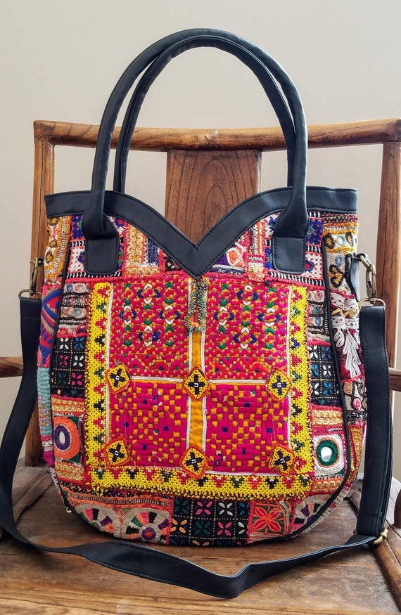 d4e505f2484d Large boho black leather embroidered tote bag Banjara bag