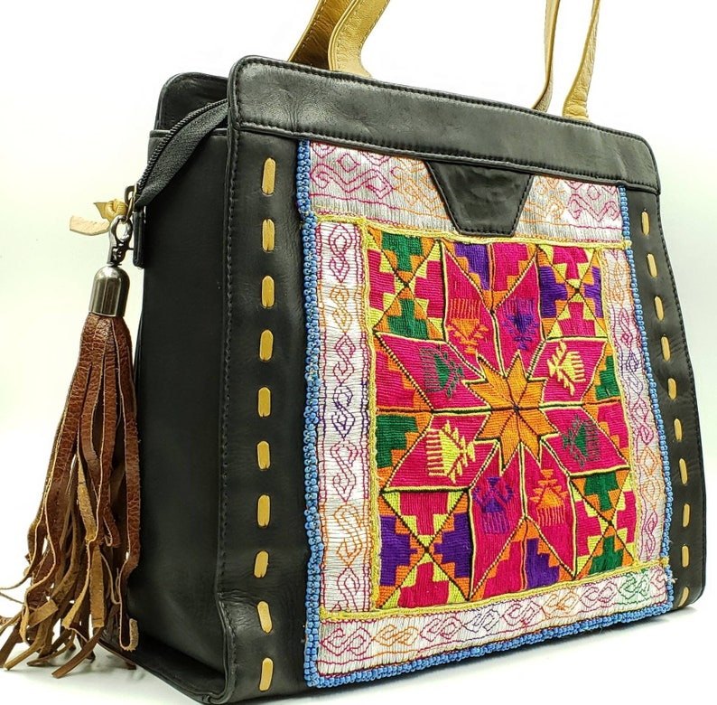 cd67e7fb43 Embroidered Banjara black leather bag Banjara tote bag boho