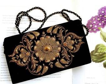 Luxury black velvet evening bag hand embroidered with copper medallion and tiger eye, OOAK statement clutch, zardozi purse, formal purse