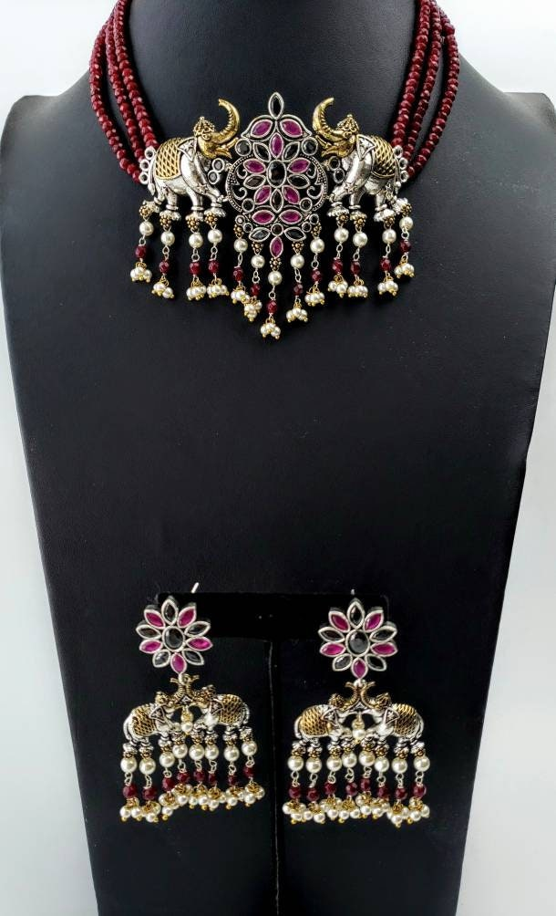 India jhumka,elephant jewelry India CZ jewelry animal jewelry elephant lover gift jhumka necklace India elephant choker