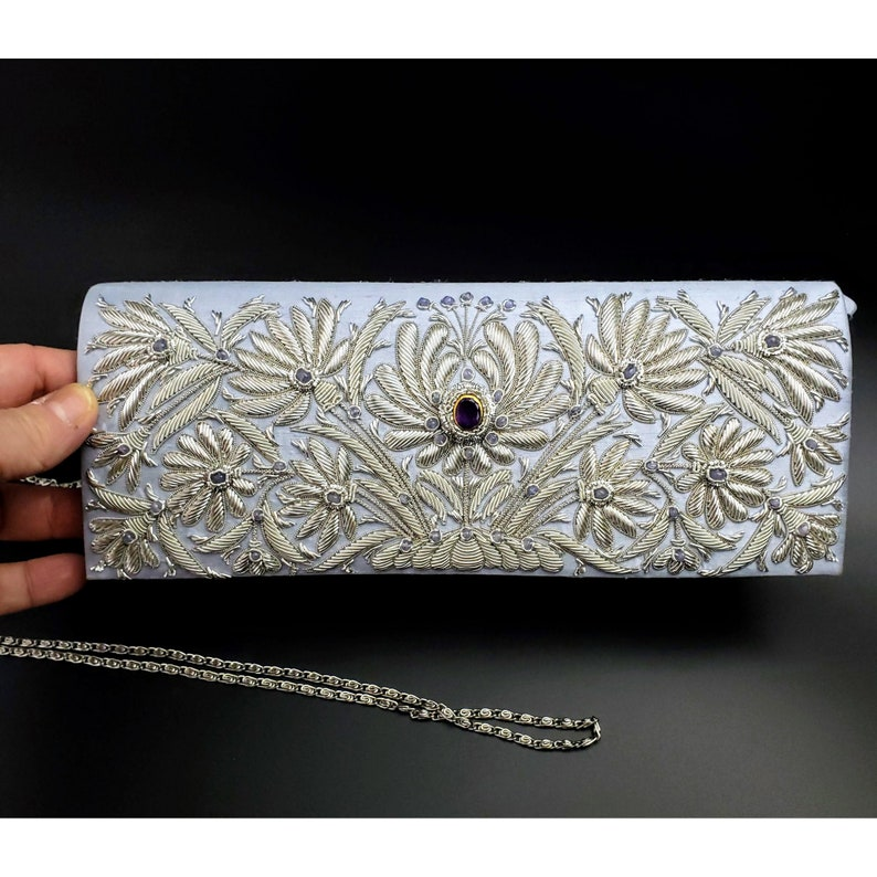 Silk Bridal clutch hand embroidered blue and silver image 0