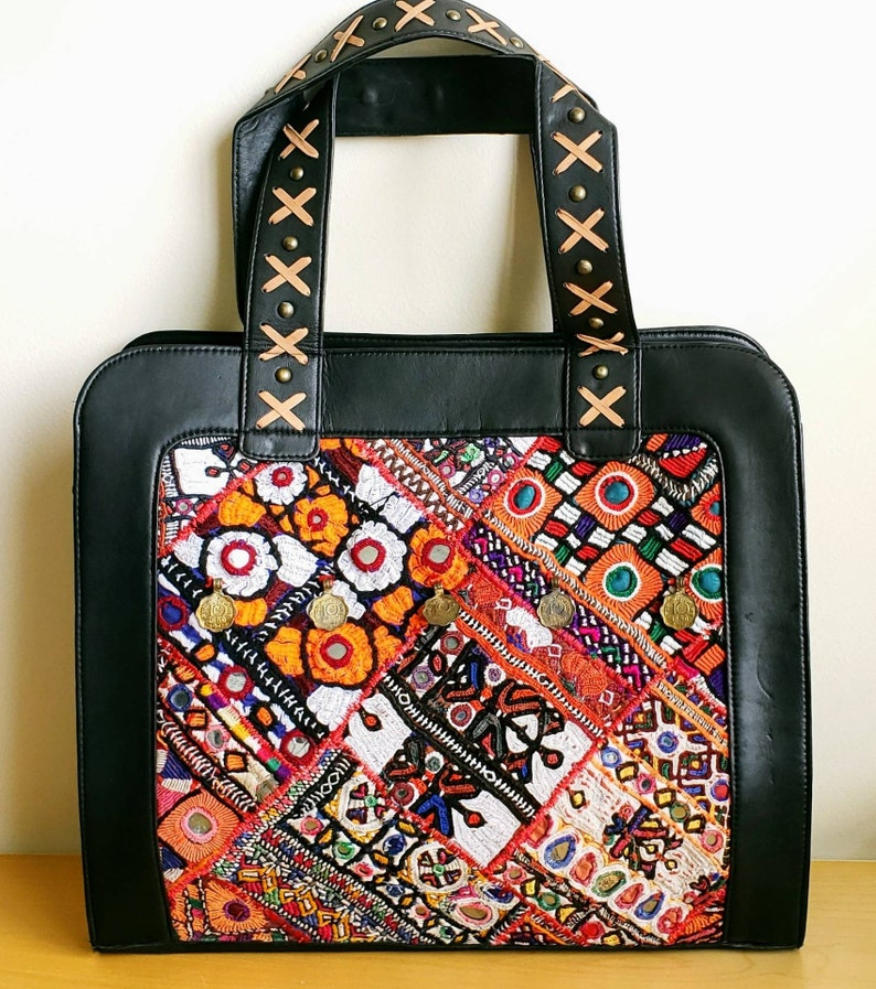 898556729aa8 Indian Banjara embroidered black leather tote bag, embroidered Banjara  shoulder bag, boho shoulder bag, tribal leather bag, patchwork bag