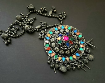 Colorful Afghani tribal round pendant with charms, amulet necklace, German silver Afghani jewelry, ethnic mirror jewelry,Belly dance jewelry
