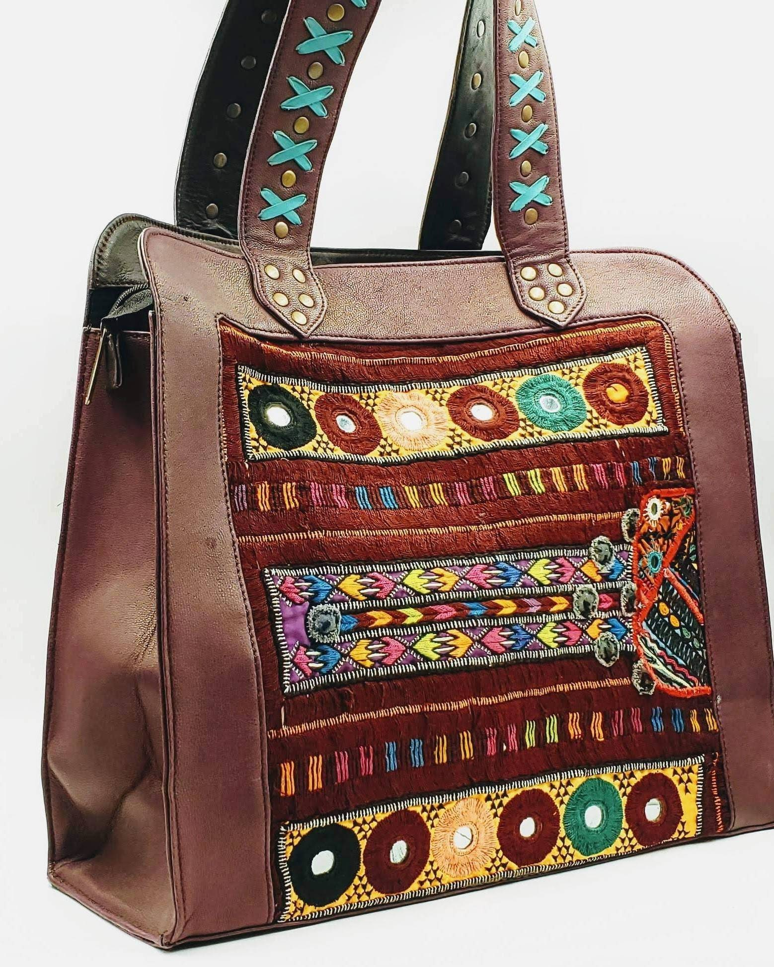 20fee7f8cb59 Large brown leather embroidered tote bag