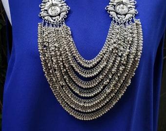 India tribal necklace, India jewelry, multi strand ghungroo necklace, Ganesha Hindu jewelry, elephant god, peacock jewelry, Jhumka necklace
