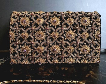Luxury black velvet evening bag, embroidered clutch with amethyst and garnets,zardozi handbag, OOAK clutch, statement clutch, gift for her