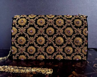 Black velvet and copper embroidered evening bag, OOAK statement clutch, Zardozi jewel purse, designer formal luxury evening bag,party clutch