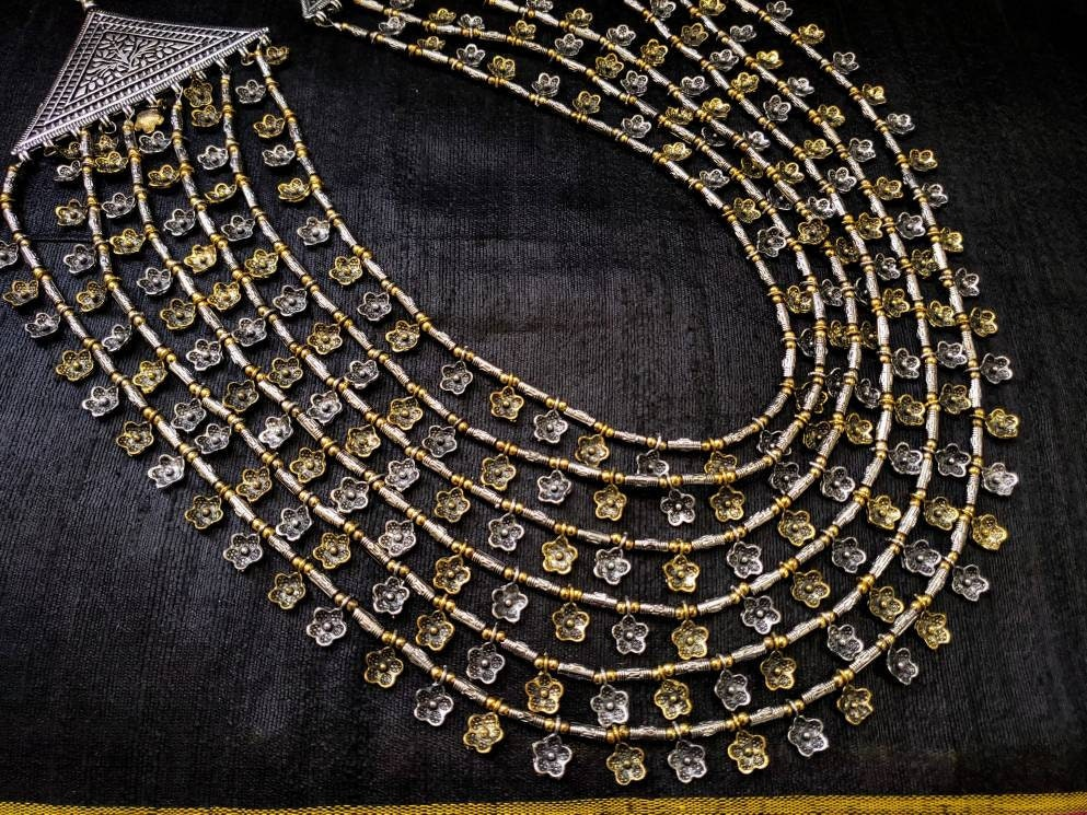 Oxidized Jewellery !! Indian jewelry! Oxidised silver and gold dual tone necklace